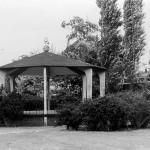 De muziek kiosk, in 1950 geschonken door van Gend van de betonfabriek. De muziek kiosk heeft tot 1975 gestaan tussen het gemeentehuis en de pizzeria. Op de achtergrond 'het Honk'.
